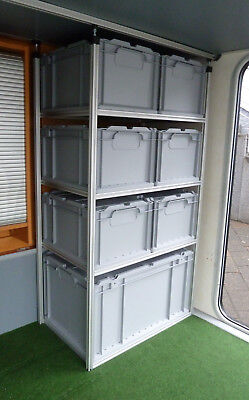 Alu Regal für Wohnmobil Heckgarage Garage incl. Boxen; Systemregal; Regalsystem ()