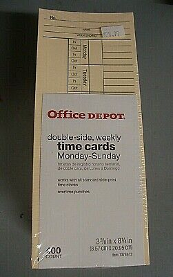Office Depot 1378612 2- Sided Weekly Time Cards 3 38 X 8 14 Pack Of 400