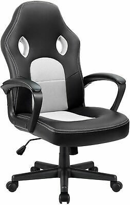 Leather Game Chair Ergonomic Adjustable High Back Racing Chair White