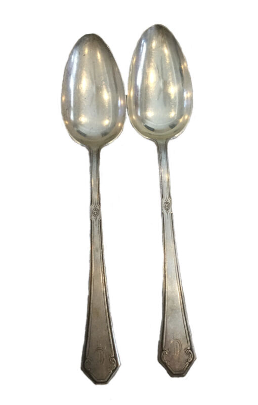 Towle Pat 1917 Lady Mary Sterling Silver Serving Spoons Monogrammed Set Of 2