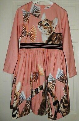 Molo Bengal Beauty dress,cats,gold zip,long sleeve,girls size 11-12,146/152,NWOT
