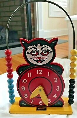 Vintage Brio Wooden Children's Black Cat Learning Clock Abacus Counting Toy