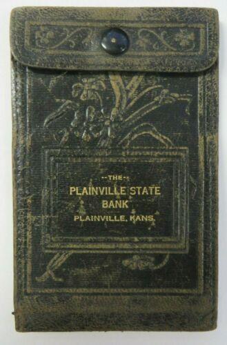 Vintage Leather Wallet PLAINVILLE STATE BANK Black Embossed KANSAS