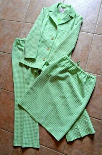 Nan Scott 3 pc VTG suit polyester green white houndstooth skirt jacket pants M/L