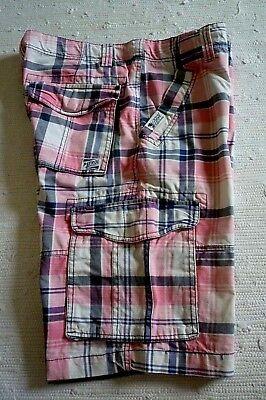 Blau Karierte Cargo-shorts (PETROL Herren Cargo Shorts Bermuda kurze Hose Casual Wear Pink Blau kariert  XL)
