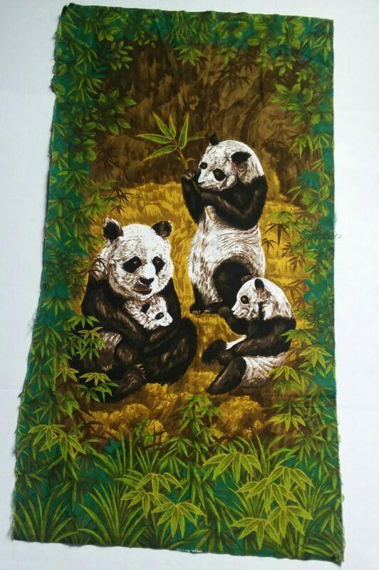 1970s Vintage Panda Bear Material  22 X 42