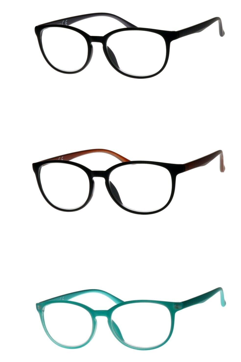 Lesebrille türkis-grün braun-schwarz schwarz-grau große leichte eckige Gläser