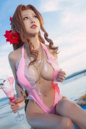 Sexy Aerith Hot Cleavage Cosplay 4x6 photograph SEXY!!! #2
