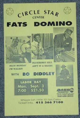 FATS DOMINO Bo Diddley Original Concert Poster California 1990