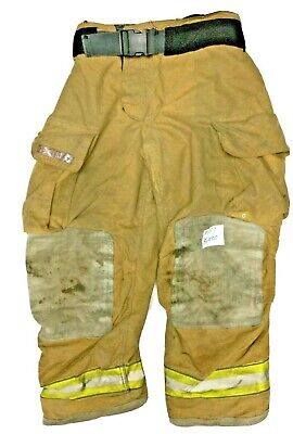 36x30 Globe Gxtreme Brown Firefighter Turnout Pants With Yellow Tape P1217