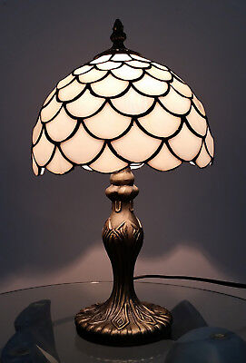 8 Inch Tiffany Antique Brass Lamp Modern Home Bedside tables with glass...