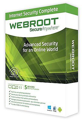 Webroot SecureAnywhere Internet Security PLUS 2018, 5 Devices 1 Year License