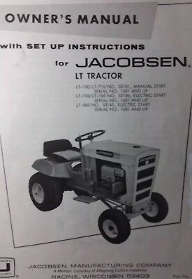 Jacobsen Lt-700 710 750 760 860 Lawn Garden Tractor Owners Manual Ford 70 75