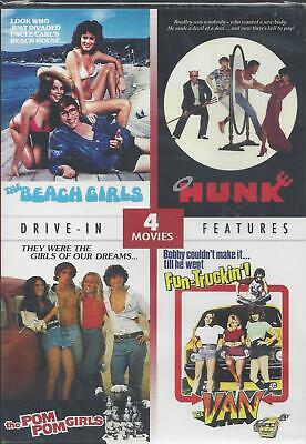 4 DRIVE-IN MOVIES THE BEACH GIRLS HUNK THE POM POM GIRLS THE VAN NEW DVD](Girls In Vans)