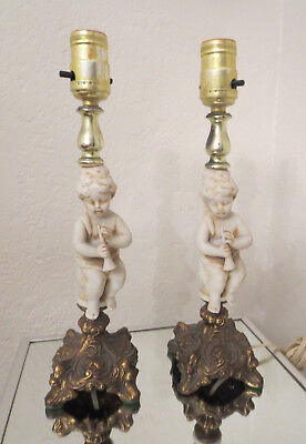 2 Bisque Cherubs With A Flute Made In Italy Brass Ornate Metal Base Table -