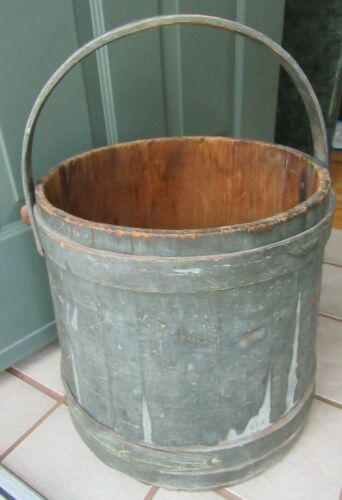 BIG Primitive Antique GREEN Painted Firkin Sugar Bucket Handle COUNTRY HINGHAM