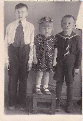 1950s Cute little boys girl tie schoolboy fashion old Russian Soviet photo