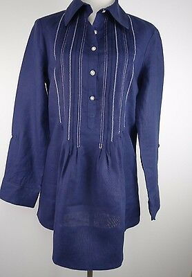 COLDWATER CREEK NWT S Navy/White Detail 100% Linen Peasant Pullover LS Blouse