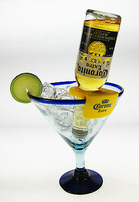 Mexican Margarita Glasses, blue rim, Corona Rita holder, 20 oz., 2 Free Shipping for sale  Shipping to Canada