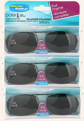 3 PACK Solar SHIELD CLIP ON Sunglasses FULL FRAME 54 REC 5 W/ CASE FREE SHIPPING