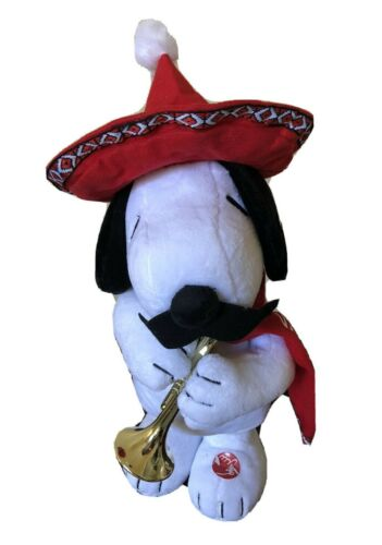 Peanuts Mariachi Snoopy Animated Singing Dancing Plush Sings Feliz Navidad NWT!