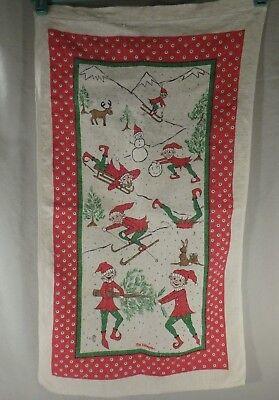 The Elfkins Christmas Tea Towel Merry Elves Elf Tree Snowman Rudolf Winter Scene - Elf Scenes