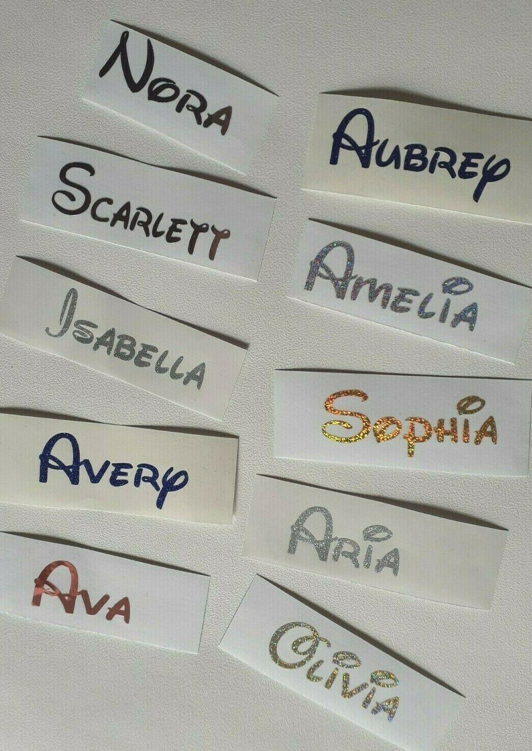 Disney Personalised Name Vinyl stickers  Wine glass Bauble Hen Do Xmas Bottle 1