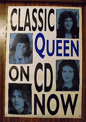 """Classic Queen Promotional Poster 24"""" x 36"""" Freddie Mercury Brian May On CD Now"""