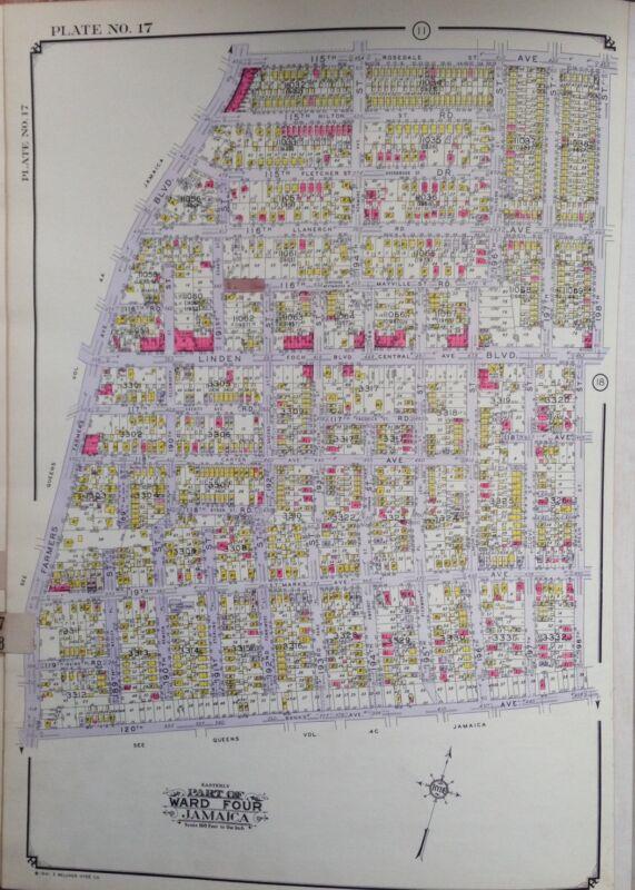 ORIG 1942 E. BELCHER HYDE ATLAS MAP ST. ALBANS QUEENS NEW YORK 20 X 28