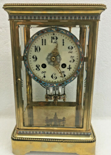 Antique 1889 French Cloisonne Crystal Regulator