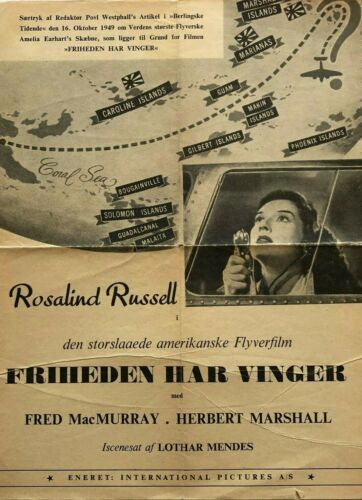 Flight for Freedom Rosalind Russell Fred MacMurr 1943 Danish Movie Press Release