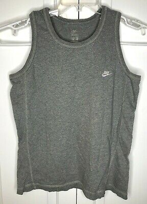 Nike Tank Top Muscle Shirt Sz Small Grey Embroidered Swoosh Gray VTG Y2K era