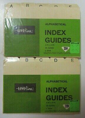 Vintage Liveline Index Guide Cards 25 Per Pack Alphabetical 4 X 6