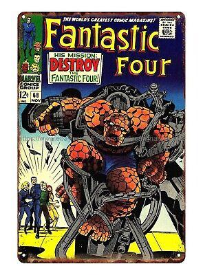 vintage signs for sale 1960s Marvel comics fantastic Four metal tin sign