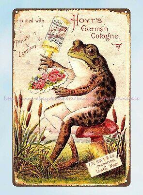 prints for sale online vintage ad Hoyt's German Cologne frog tin sign