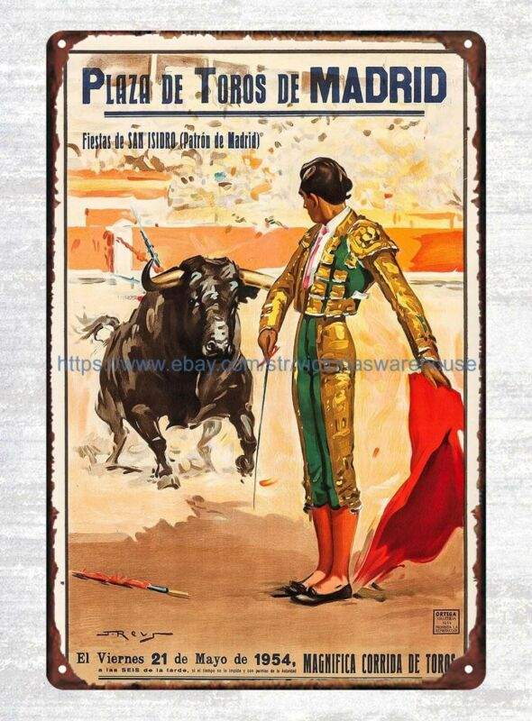 Spanish Bullfighting Posters Ortega Valencia 1970s Spain travel metal tin sign