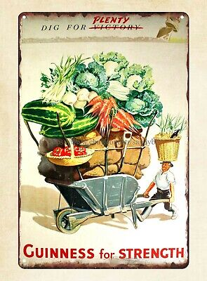 Guiness for strength dig for plenty Advertising WW2 vintage Poster metal tin