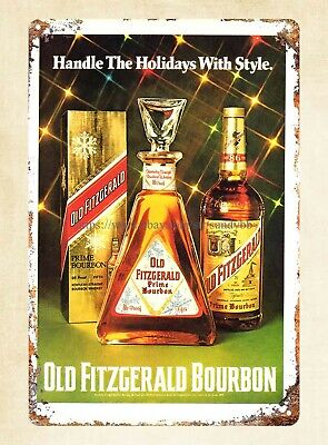 home decor 1976 Old Fitzgerald Bourbon drink Playboy metal tin sign