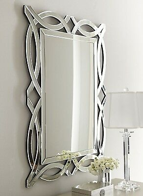 NEW Horchow French Modern Venetian Geometric Wall Vanity Fireplace Foyer Mirror