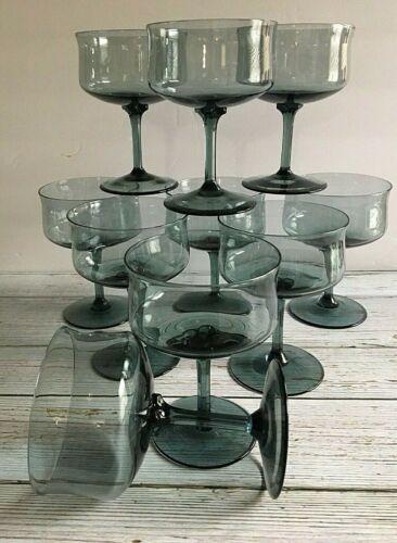 Retro Gray Smoke Glass Champagne Dessert Glasses Set of 10