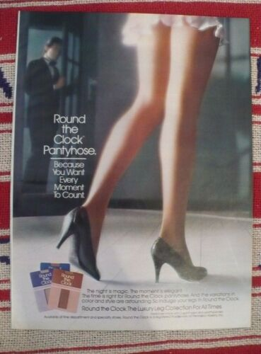 1983 Round the Clock sexy legs pantyhose hosiery ad Kathy Ireland 2 page ad