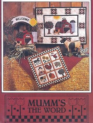 Primitive FARM Cow Rooster Wall Quilt Sewing Pattern UNCUT Debbie Mumm Red Barn