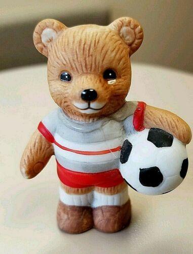 "Soccer Bear Figurine Home Interior Homco 2.5""  #1408"
