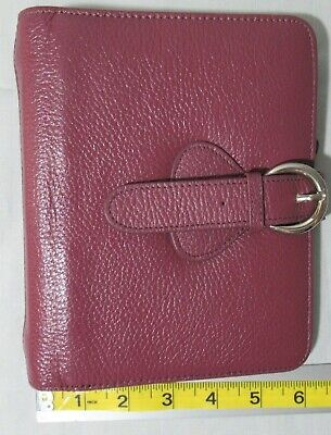 Franklin Covey Ava Compact Genuine Leather Planner 1.25 Mauveplum Adjust Snap