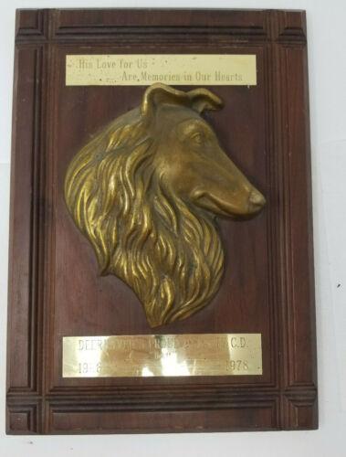 Vintage Walnut Brass Border Collie Plaque Deerhaven 3D Memorial
