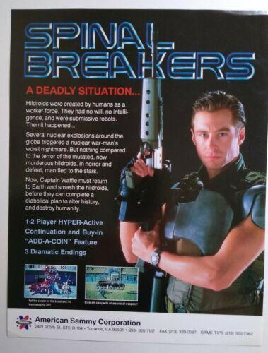 American Sammy Spinal Breakers Arcade FLYER Original 1990 Video Game Artwork