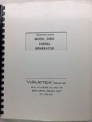 Wavetek 3000 Signal Generator Instruction Manual Pn 6510-00-0022