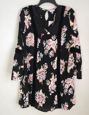 New Love Fire XL Black Floral Boho Bell Sleeve Dress Velvet Trim