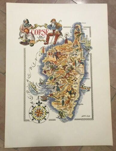 CORSICA FRANCE 1951 by JACQUES LIOZU LARGE PICTORIAL MAP XXe CENTURY
