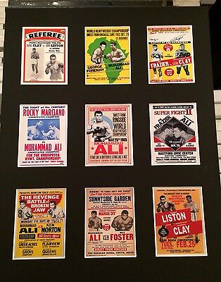 "MUHAMMAD ALI RETRO FIGHT POSTER PICTURE MOUNTED 14"" By 11"" READY TO FRAME"